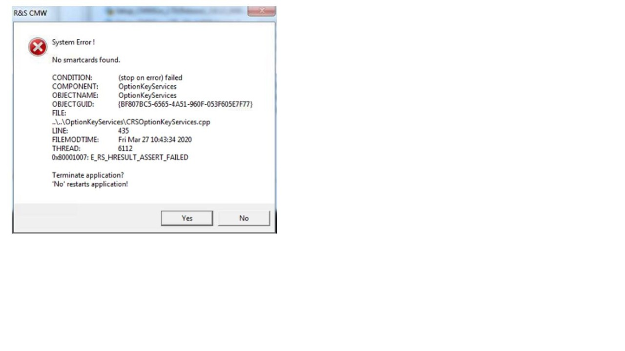 "FAQ CMW100 Model K02 show ""No smartcards found"" - screen 1"