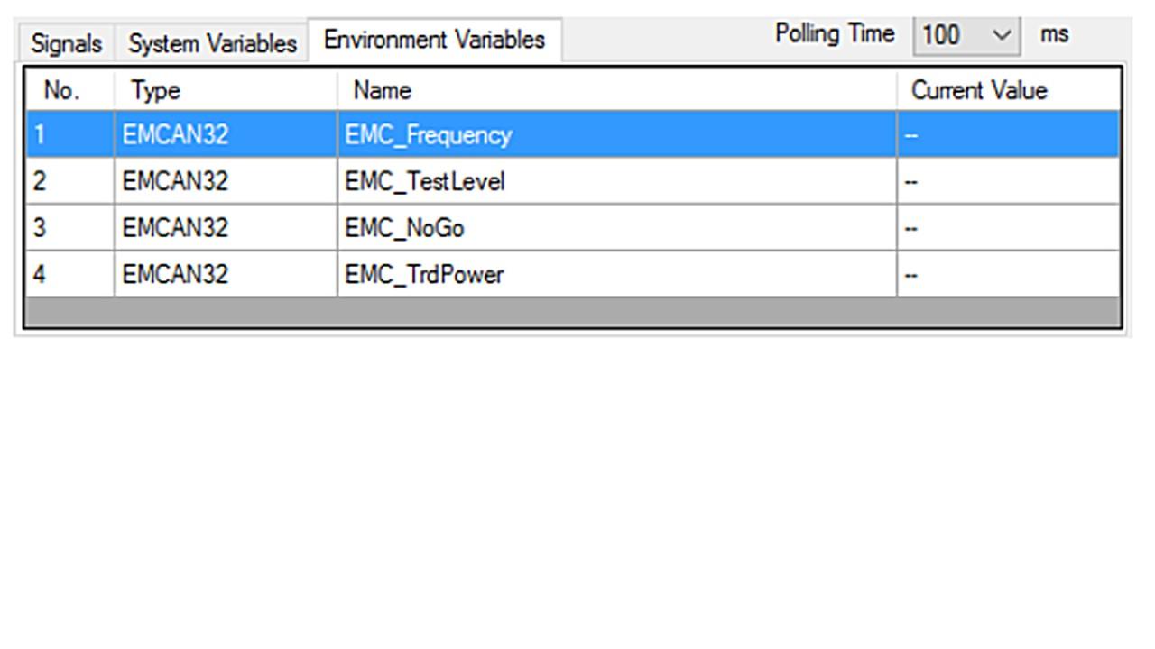 Environment variables tab
