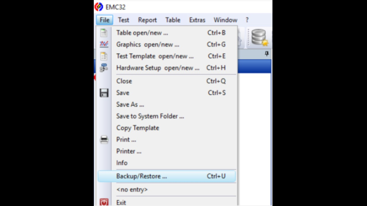 EMC32 backup function