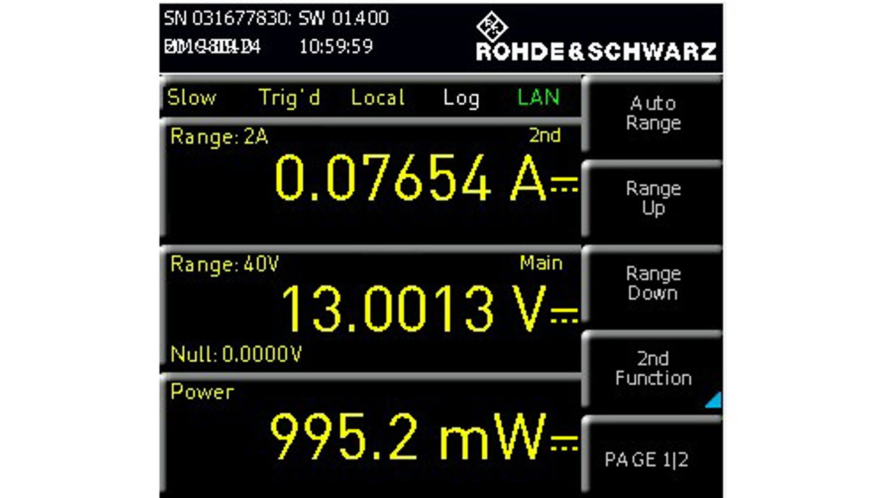 Display current and voltage measurement at the same time - result