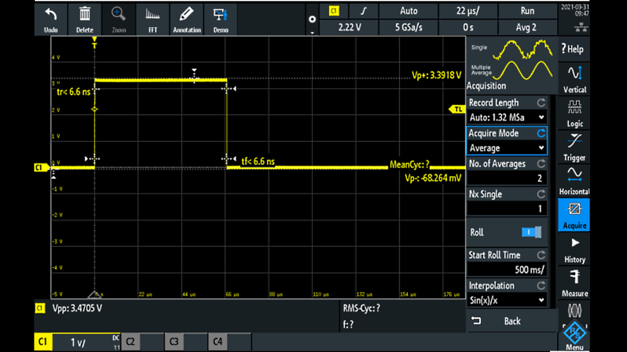 The trigger impulse time is about 67 microseconds with 3.5V peak level.