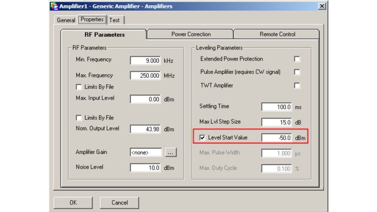 Initialize RF Generator, change start level for immunity testing using EMC32