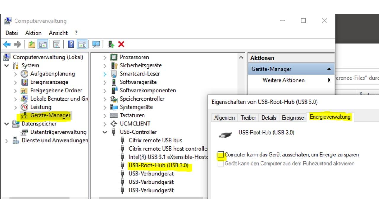 USB energy management deactivated