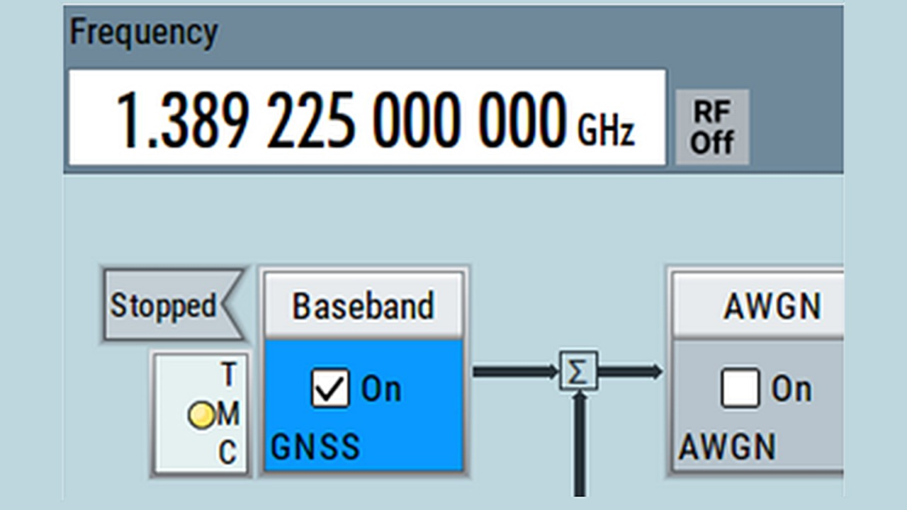 Center frequency in GNSS mode