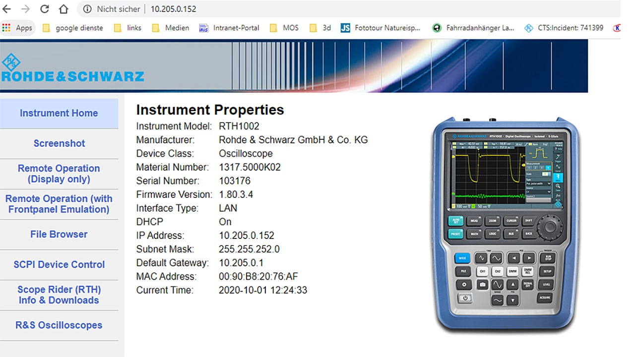 RTH 1002 instrument properties