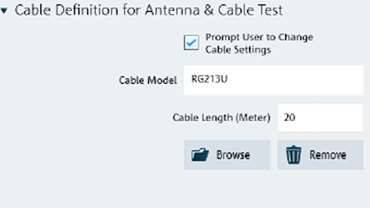 Cable definition for antenna and cable test