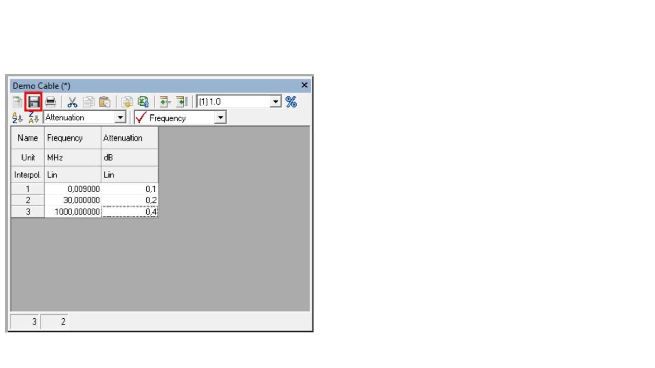 EMC32: Add attenuation table to Signal Path - screen 3