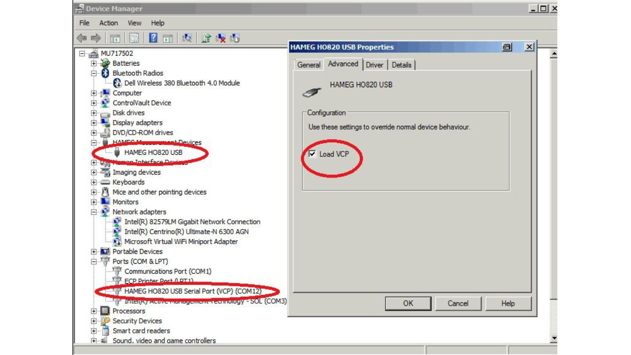 Changing virtual COM port to use field probe with EMC32