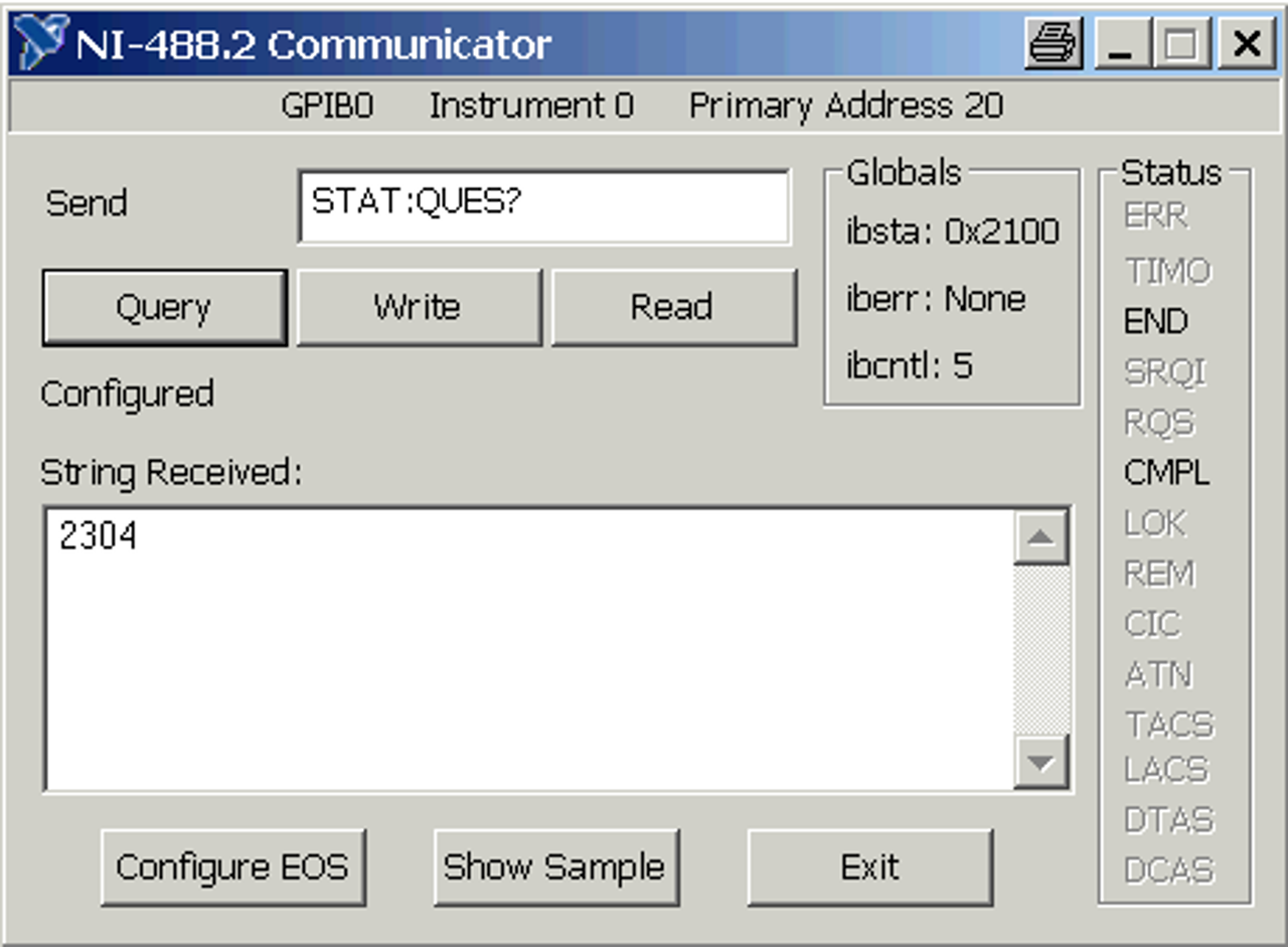 Remote reading of the information in the status bar - enter a query for the questionable register
