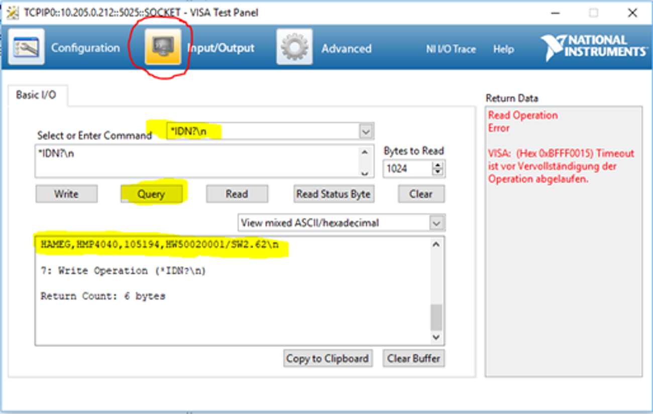 HMP series network connection via NI VISA - Click on Input/Outpout